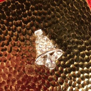 Vintage Gold Compact with Rhinestone Bell